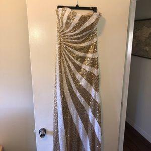 La Femme gold and white prom dress